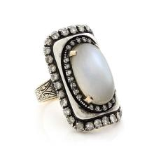 Moonstone & Diamond Silver Gold Ring