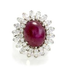 Unheated Burma Natural Star Ruby & Diamond Ring, GIA Certified