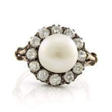 Victorian Pearl & Old Mine Diamond Ring