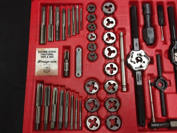 Snap on piece tap and die set