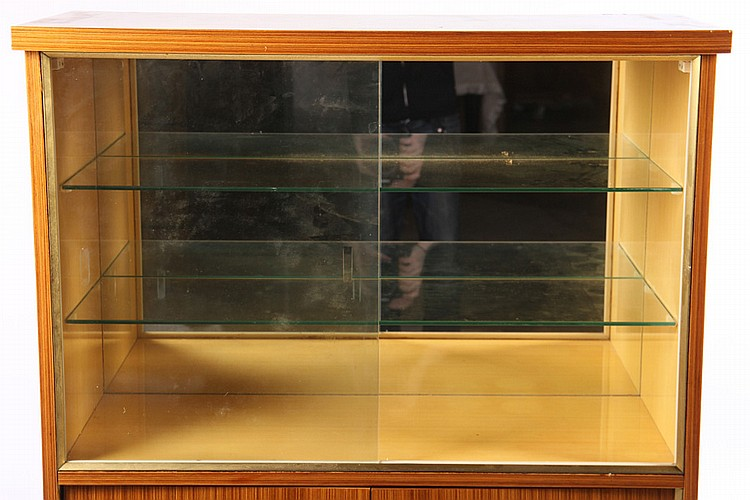 Burl Walnut Zebrawood Display Case Glass Doors