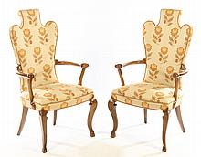 PAIR UPHOLSTERED ARM CHAIRS DUTCH OPEN ARMS