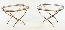 PAIR BRONZE TRAY FORM TABLES GLASS TOPS