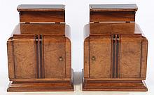 PAIR ART DECO SIDE CABINETS GLASS SHELF 1930