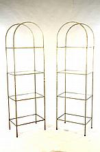 PAIR WROUGHT IRON ARCHED TOP ETEGERES 1950