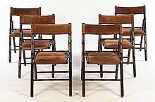 SET 6 FAUX BAMBOO FOLDING DINING CHAIRS 1970
