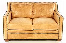 LEATHER UPHOLSTERED LOVE SEAT NAILHEAD DECORATION