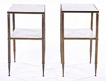 PAIR FRENCH BRONZE MARBLE SIDE TABLES 1960