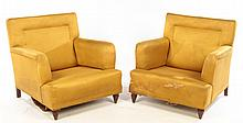 PAIR ITALIAN MID CENTRY UPHOLSTERED CHAIRS 1960