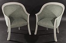 PAIR STYLISH SHAPED AND PAINTED CHAIRS
