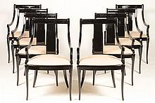 SET 8 BLACK LACQUERED DINING CHAIRS UPHOLSTERED