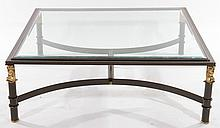 EMPIRE STYLE IRON BRASS COFFEE TABLE GLASS TOP