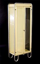 2 TIER 2 DOOR ALUMINUM VITRINE LABELED 1960