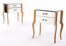 PAIR FRENCH MIRRORED SIDE TABLES 2 DRAWERS 1950