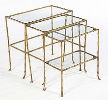 3 PIECE BRONZE FAUX BAMBOO NESTING TABLES 1960