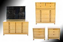 4 PC MID CENTURY BLONDE BEDROOM SET 1950