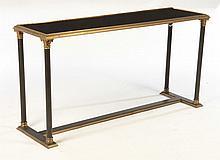 EMPIRE BRONZE IRON CONSOLE TABLE GLASS TOP 1940
