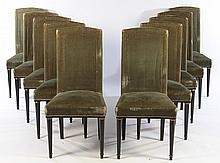 SET 10 DINING CHAIRS NAIL HEAD DECORATION