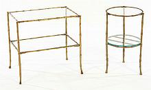 PAIR BRASS FAUX BAMBOO END TABLES GLASS TOPS 1950