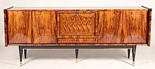 FRENCH WALNUT SIDEBOARD FALL FRONT DOOR 1960