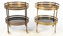 PAIR BRASS DRINKS CARTS OR SIDE TABLES C. 1960