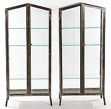 PAIR METAL VITRINES WITH GLASS DOORS 1930
