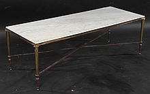 NEOCLASSICAL BRONZE COFFEE TABLE MARBLE TOP 1940