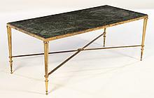 FRENCH BRONZE COFFEE TABLE MARBLE TOP 1940