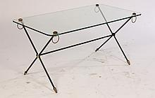 GLASS TOP COFFEE TABLE JACQUES ADNET MANNER 1950