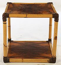 FRENCH BAMBOO TABLE CROTCH VENEER TOP 1960