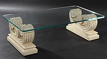 NEOCLASSICAL STYLE CAST STONE COFFEE TABLE