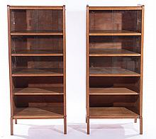 TWO PART FRENCH OAK BOOKCASE OPEN SHELVES 1950