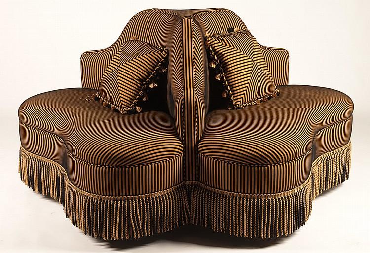 Upholstered Borne Three Sided Sofa With Fringe