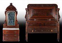 2 PC VICTORIAN WALNUT HEADBOARD & DRESSER C.1875