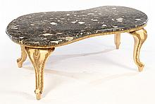 CARVED PAINTED COFFEE TABLE SHAPED MARBLE TOP