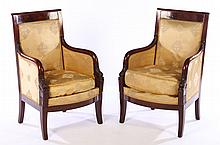 PAIR DOLPHIN CARVED MAHOGANY BERGERE CHAIRS 1870