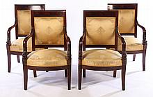 MATCHED SET 4 FRENCH MAHOGANY ARM CHAIRS 1870