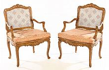 19TH CENT. FRENCH LOUIS XV CARVED CHAIRS