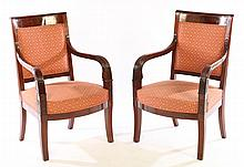 PAIR 19TH CENT. FRENCH CARVED WALNUT ARM CHAIRS