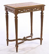 LOUIS XVI CARVED PAINTED SIDE TABLE MARBLE 1920