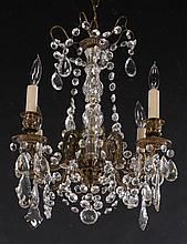 CRYSTAL AND BRONZE 4 ARM CHANDELIER
