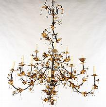 WROUGHT IRON PAINTED GILT CHANDELIER DROP CRYSTAL