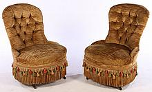 PAIR 19TH CENT. BOUDOIR CHAIRS UPHOLSTERED