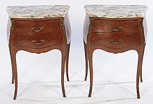 PAIR LOUIS XV STYLE MARBLE TOP END TABLES