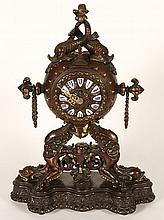 DECORATIVE BRONZE FRENCH MANTLE CLOCK