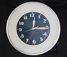 ART DECO NEON WALL CLOCK MARKED MADE IN U.S.A.