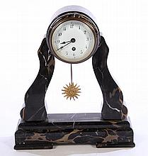 VICTORIAN BLACK MARBLE MANTLE CLOCK