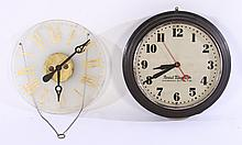 GROUPING OF TWO LARGE WALL CLOCKS C. 1940