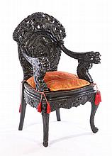 ELABORATE CARVED CHINESE ARM CHAIR