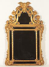 LOUIS XV GILT WOOD CARVED MIRROR ORNATE CREST